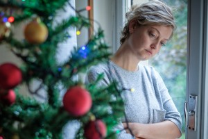 Woman feeling alone during christmas holiday
