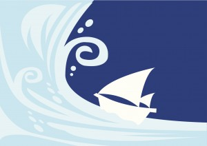 Vector illustration of a giant tsunami with a sailing boat.
